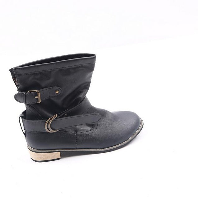 winter women Motorcycle boots Round Toe Square heel Boots Casual shoes Shoes Western Martin boots