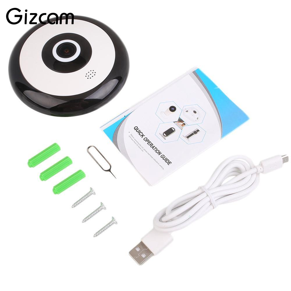 Gizcam Professional 360 degrees Panoramic Video Camcorder HD Wireless WIFI Cam Home Network IP Mini Camera Fisheye