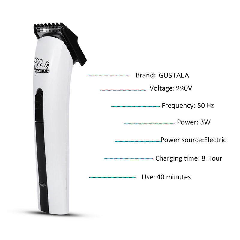 GUSTALA AC220-240V Professional Rechargeable Hair Trimmer