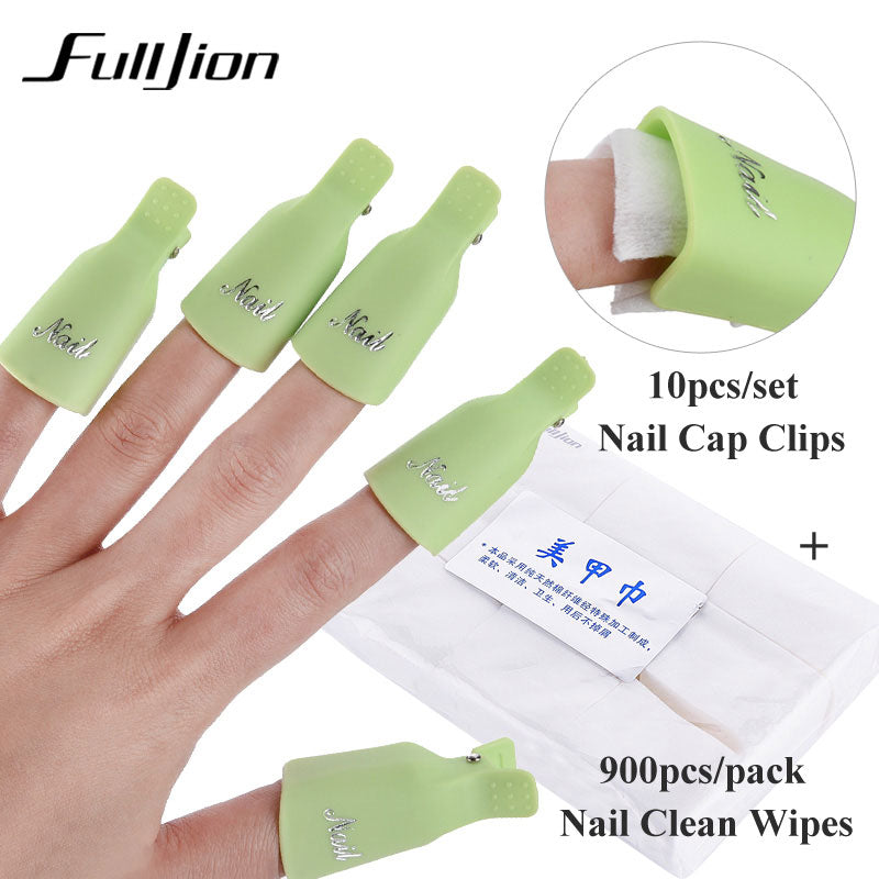 Fulljion nail set 10pcs Nail Cap Clips UV Gel Polish Remover Wrap with 900pcs/set Nail Clean Wipe Cotton Pads nail Accessories