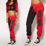 Women Girl Harley Quinn Joggers Bottoms Trousers Ladies Lounge Wear Loose Tracksuit Harem Pants Red Black