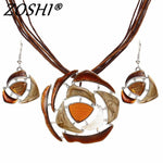 ZOSHI Fashion Crystal Jewelry Sets Leather Rope Chain Pendant Necklace Drop Earrings Wedding Bridal Jewelry Sets Women Boho Gift