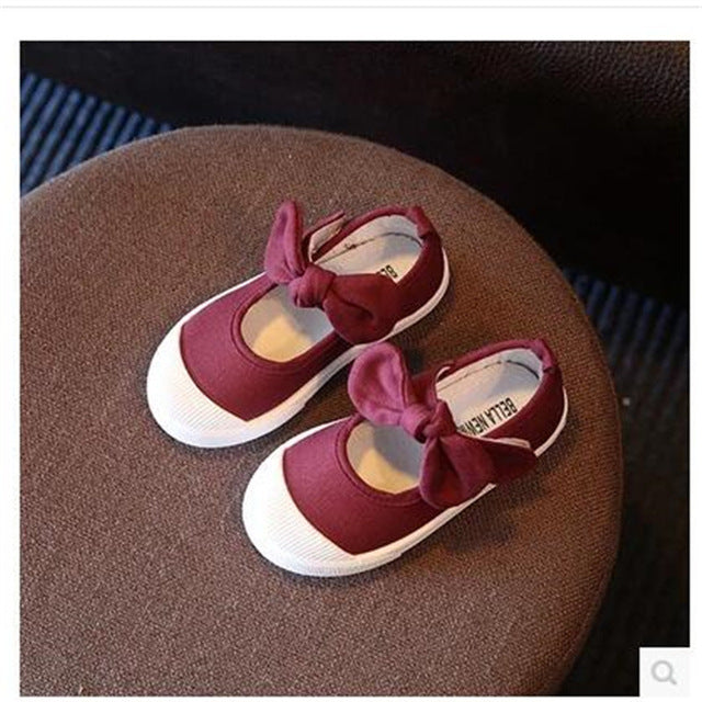 Spring  and  Autumn  new canvas bow children 's shoes girls princess shoes