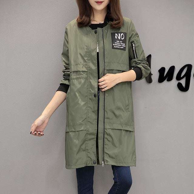 Fitaylor Autumn Women Windbreaker Coat Fashion Casual Jacket O Neck Long Sleeve Letter Print Medium Long Slim Coat