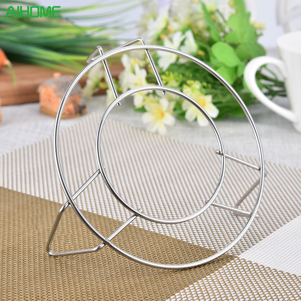 High-Profile Round Stainless Steel Pot Steamer Stand
