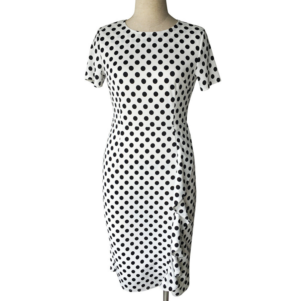 Oxiuly New Women Vintage Dot Print Short Sleeve O-Neck Stretchy Slimming Party Dress Vintage Knee-Length Dress Plus Size S-4XL