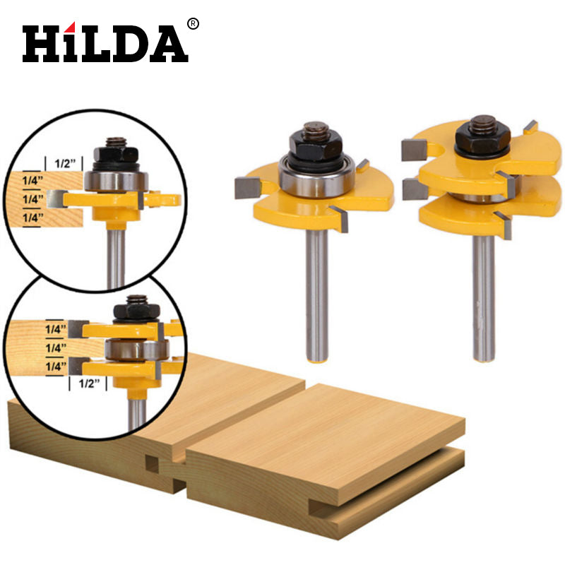 "HILDA 1Set Tongue & Groove Router Bit Set 3/4"" Stock 1/4"" Shank 3 Teeth T-shape Wood Milling Cutter Flooring Wood Working Tools"