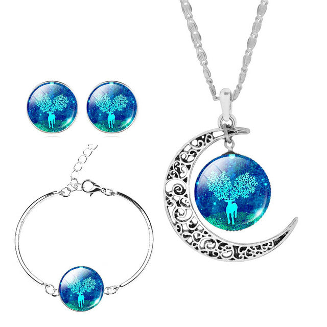 l Vintage Deer Jewelry Sets For Women Silver Color Earrings Bracelets & Bangles Statement Necklace Sets