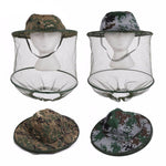 Camouflage Anti-Mosquito Fishing Hat with Mesh Head Cover