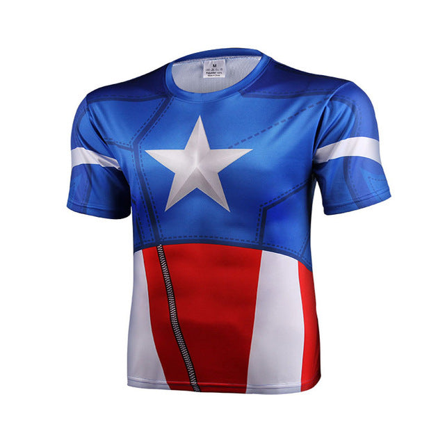 Top Avengers Fitness Shirt 3D T Shirt Men Superman Spider Man Iron Man Short Sleeve Printed T-Shirts Male Crossfit t shirt men