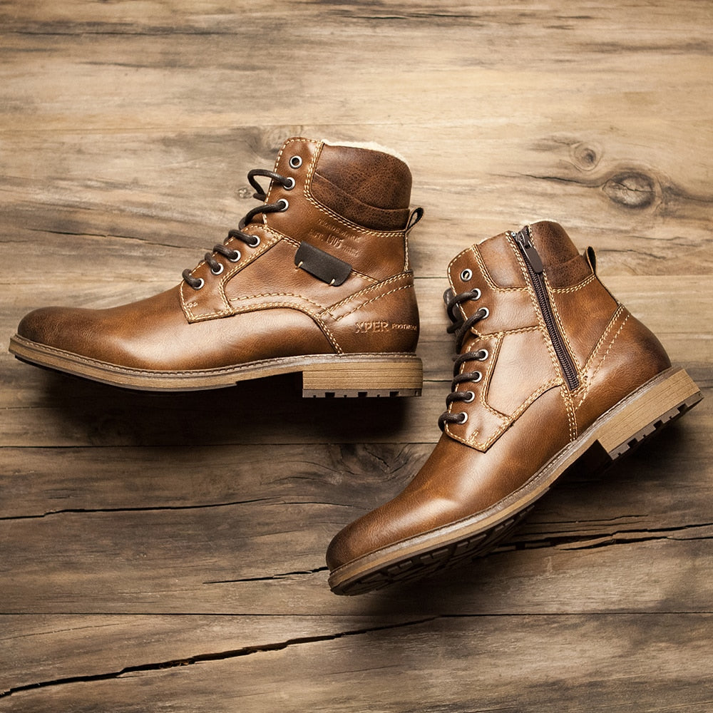 Men's High-Cut Leather Touch Lace-Up Boots