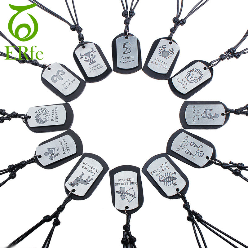 ER Men Leo Virgo Cancer Taurus Gemini Scorpio Libra Necklace 12 Zodiac Necklace Twelve Constellations Male Leather Jewelry LN002