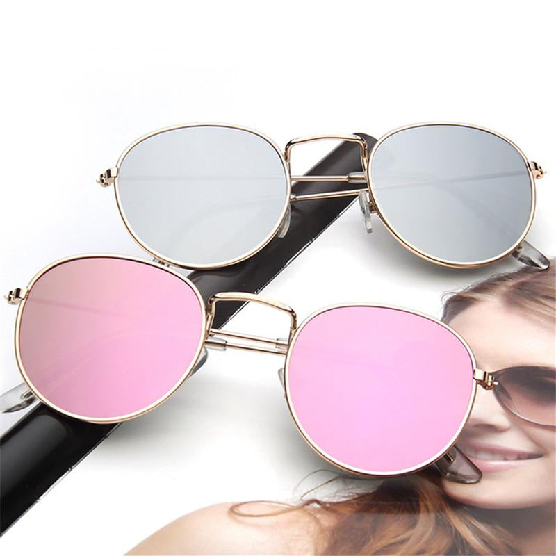 Women's Retro Round Designer Alloy Mirrored Lens Sunglasses