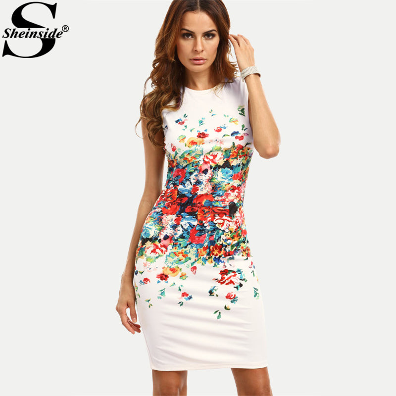 Sheinside Abstract Flower Print Sleeveless Fitted Dress Round Neck Knee Length Elegant Pencil Dress Women Casual Dress
