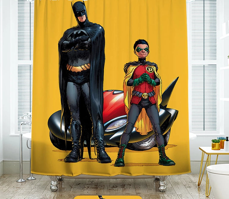 IBANO Shower Curtain Waterproof Polyester Fabric Marvel Batman Bath Curtain For The Bathroom With 12 pcs Plastic Hooks Floor Mat