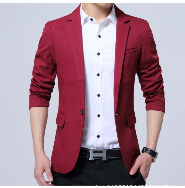 Men's Solid Casual Slim Fit Bold Blazer
