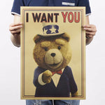 Teddy bear funny posters Motivational posters to draw sitting room adornment Retro kraft paper poster hangs picture wall sticker