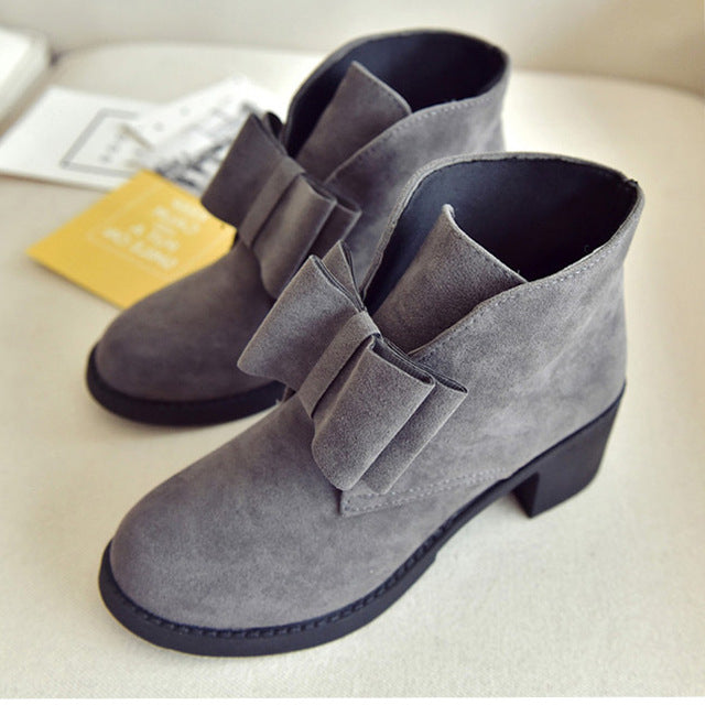 Fashion women ankle boots winter autumn bowtie women boots high heels platform gift Women boots ladies shoes black block heels