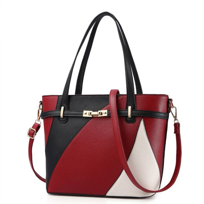 Women's Leather Patchwork Shoulder Tote