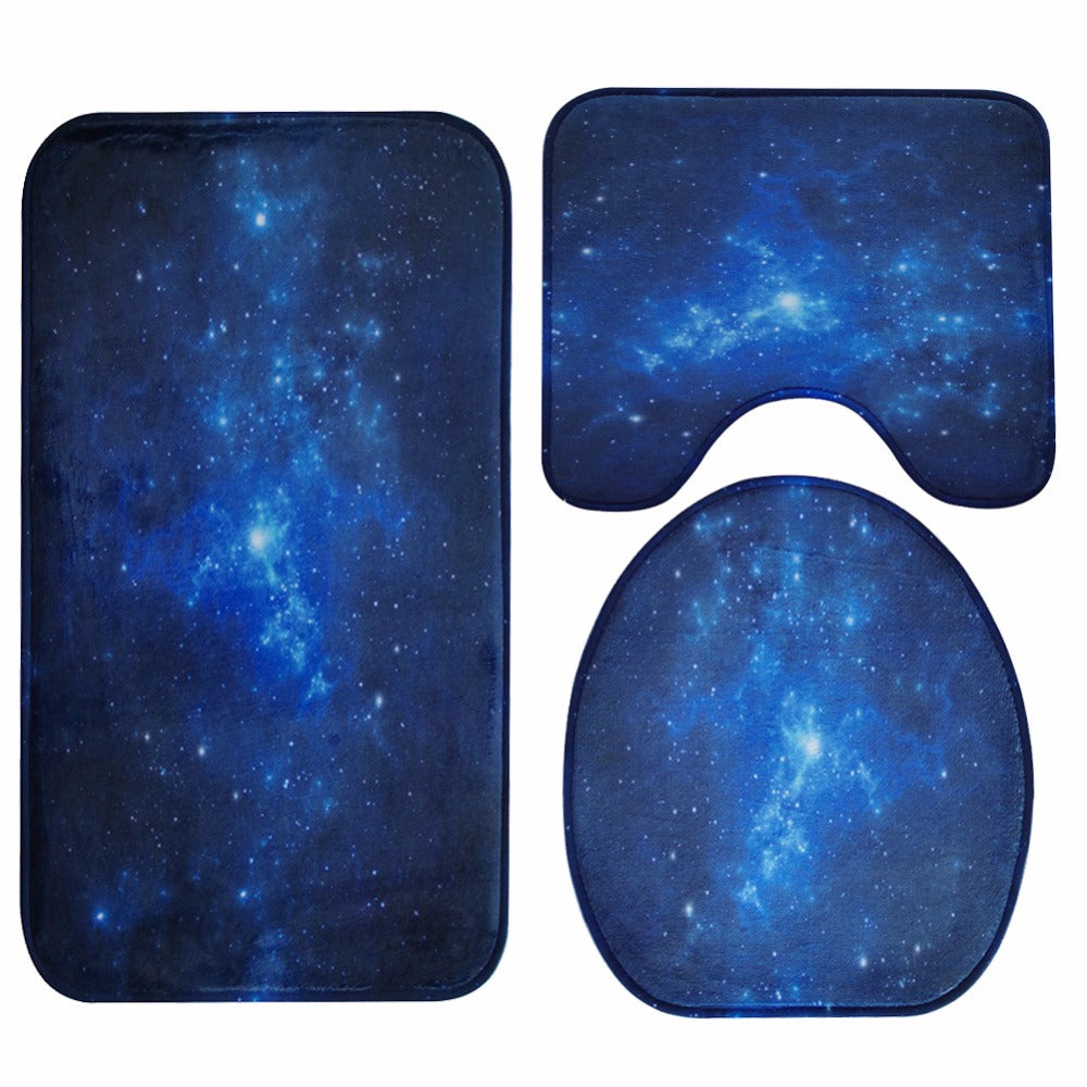 3 Pieces Honlaker Blue Nebula Toilet Seat Cover Set