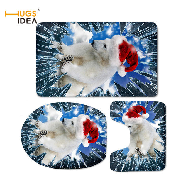 3D Dog Print Bathroom Toilet Seat Cover Set