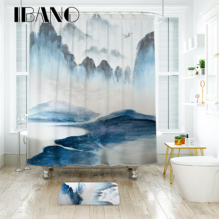 IBANO Landscape Painting Chinese Painting Shower Curtain Waterproof Polyester Fabric Bath Curtain For The Bathroom Decoration