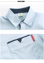 Boy's Cotton Long Sleeve Button Up Turn-Down Collar Shirt