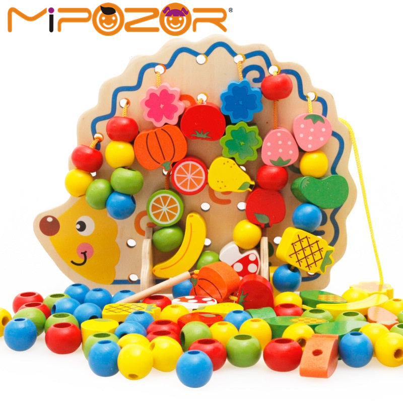 MIPOZOR Learning Education Wooden Puzzle Toys 82 Pcs Hedgehog Fruit Beads Montessori Oyuncak Educational Toy For Children