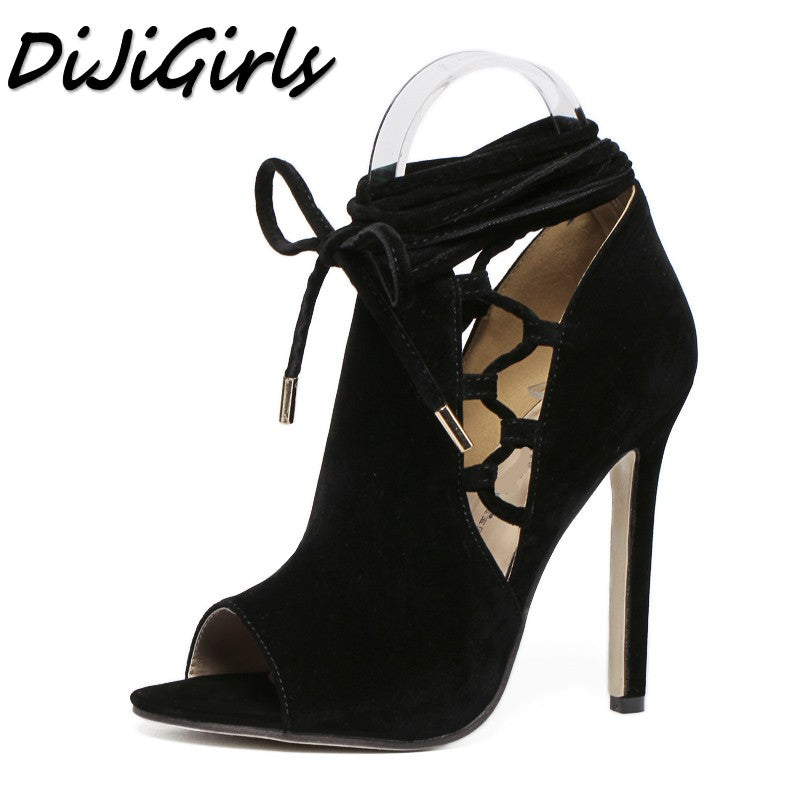 DiJiGirls women gladiator sandals high heels shoes woman party wedding dress OL ladies stiletto peep toe slingback rome shoes
