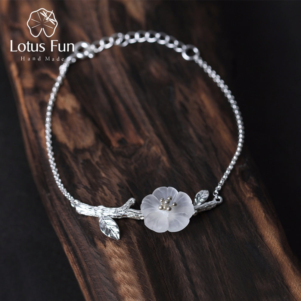 Lotus Fun Real 925 Sterling Silver Natural Crystal Handmade Fine Jewelry Creative Flower in the Rain Design Bracelet for Women