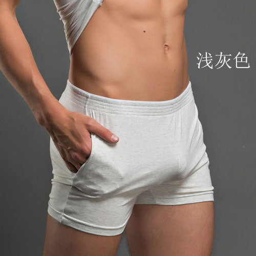 New low-waist men's boxer underwear  100% cotton sexy boxer  male loose plus size underwear 5 colors size M/L/XL