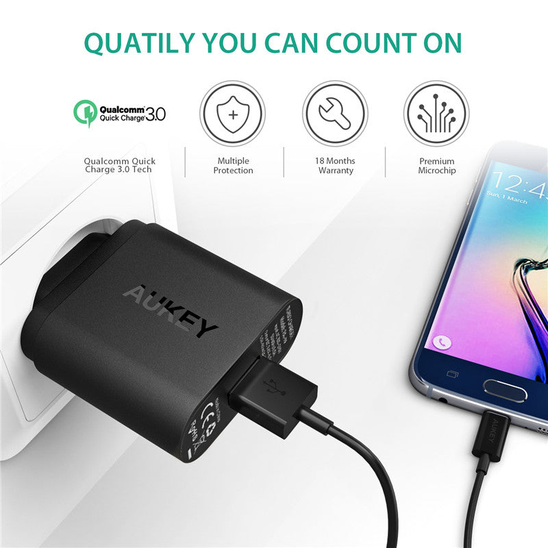 AUKEY 3.0 USB Charger Quick Charge 3.0 18W Charge Adapter Portable Travel Wall Charger For iPhone Samsung galaxy s8 Xiaomi mi5 6