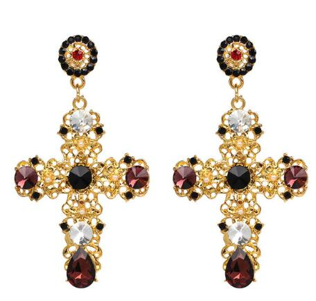 Vintage Black Crystal Cross Drop Earrings for Women Baroque Bohemian Large Long Earrings Jewelry Brincos