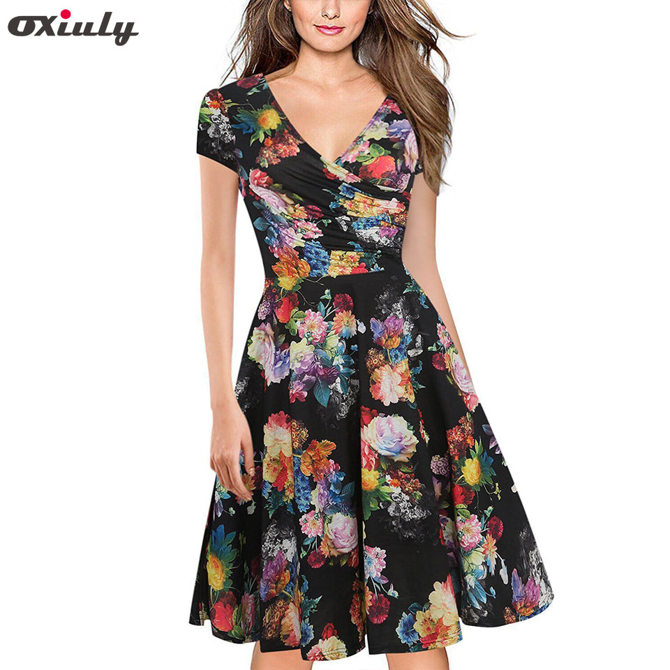 Oxiuly Women Bamboo Leaf Floral Print Ruffle V Neck Dress Short Sleeve Knee Length Dresses Ladies Casual A-Line Dress Vestidos