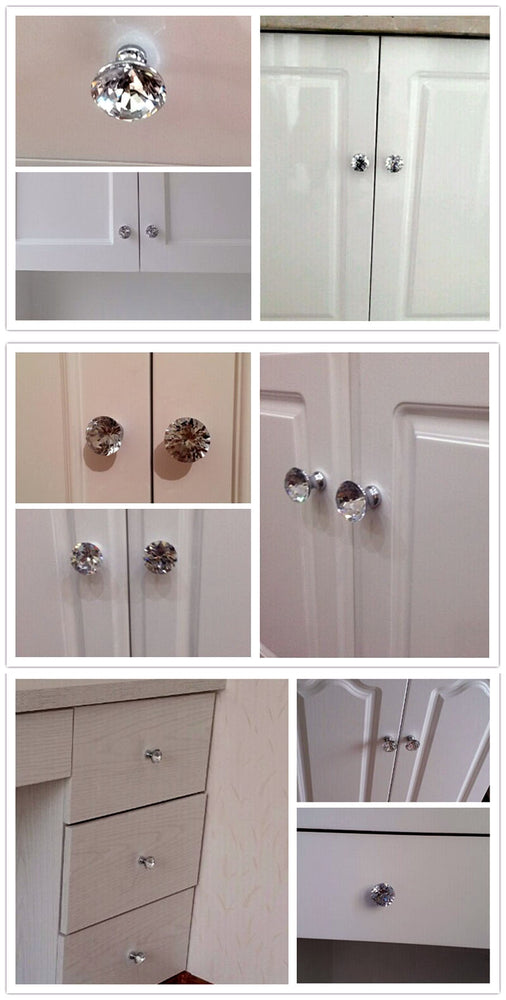 10 Pack: Diamond-Shape Crystal Glass Knob Cupboard Handle - 30mm