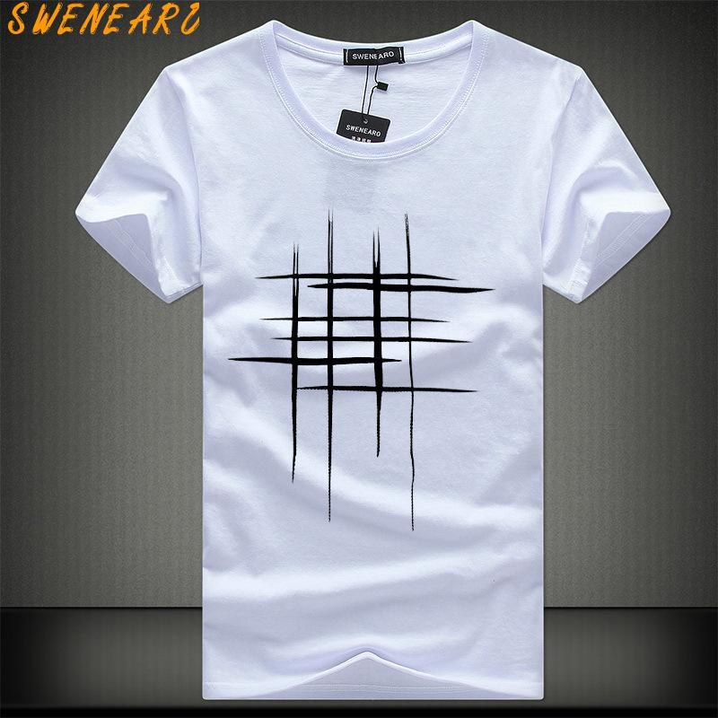 SWENEARO Simple creative design line cross Print cotton T Shirts Men's Summer Style Short Sleeve Men t-shirt