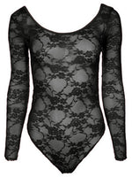 commencer No Lining!  Women Lace Long Sleeve Bodysuit  Jumpsuit  Hollowout Scoop Neck Bodysuit Leotard Tops 0038