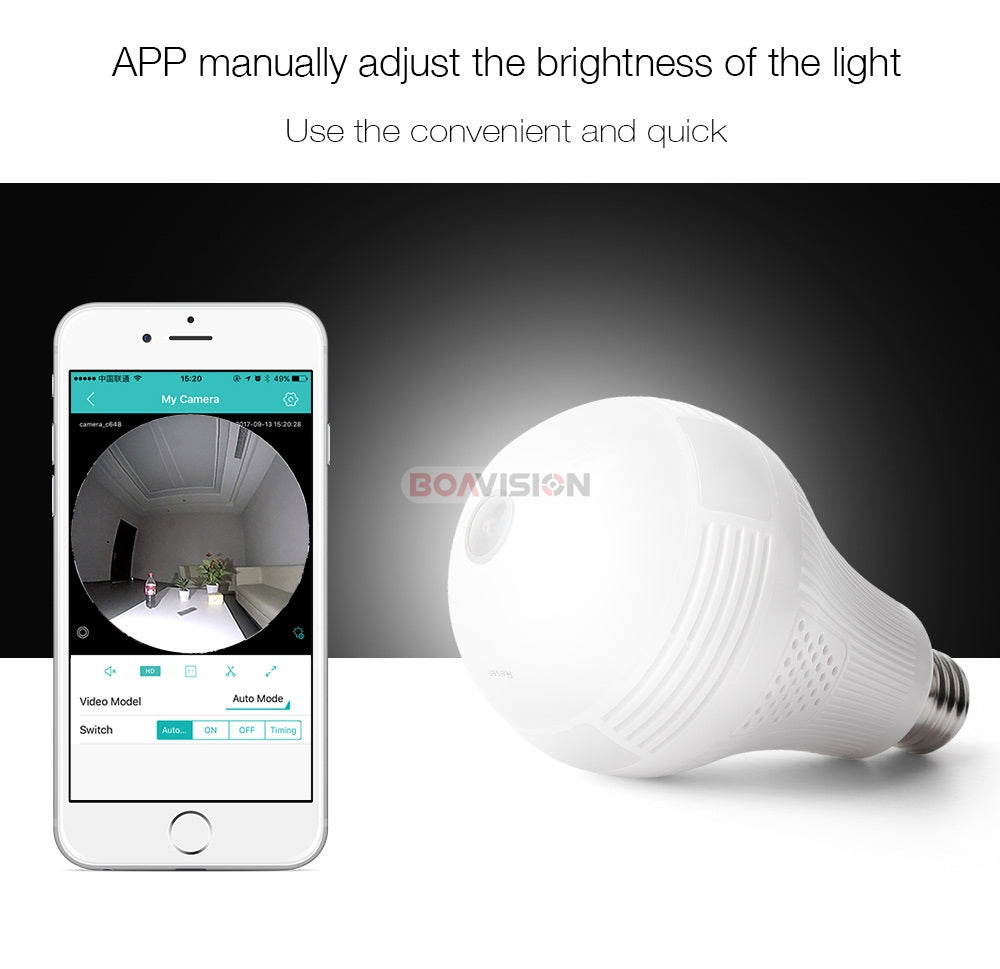 Wireless WiFi 180/360 Degree Panoramic Surveillance IP Camera Light Bulb