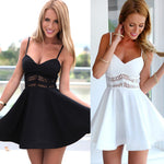 Summer Fashion Women Sexy Strap V Neck Crochet Lace Waist Skater Dress Casual Party Mini Short Dresses White Black Vestidos