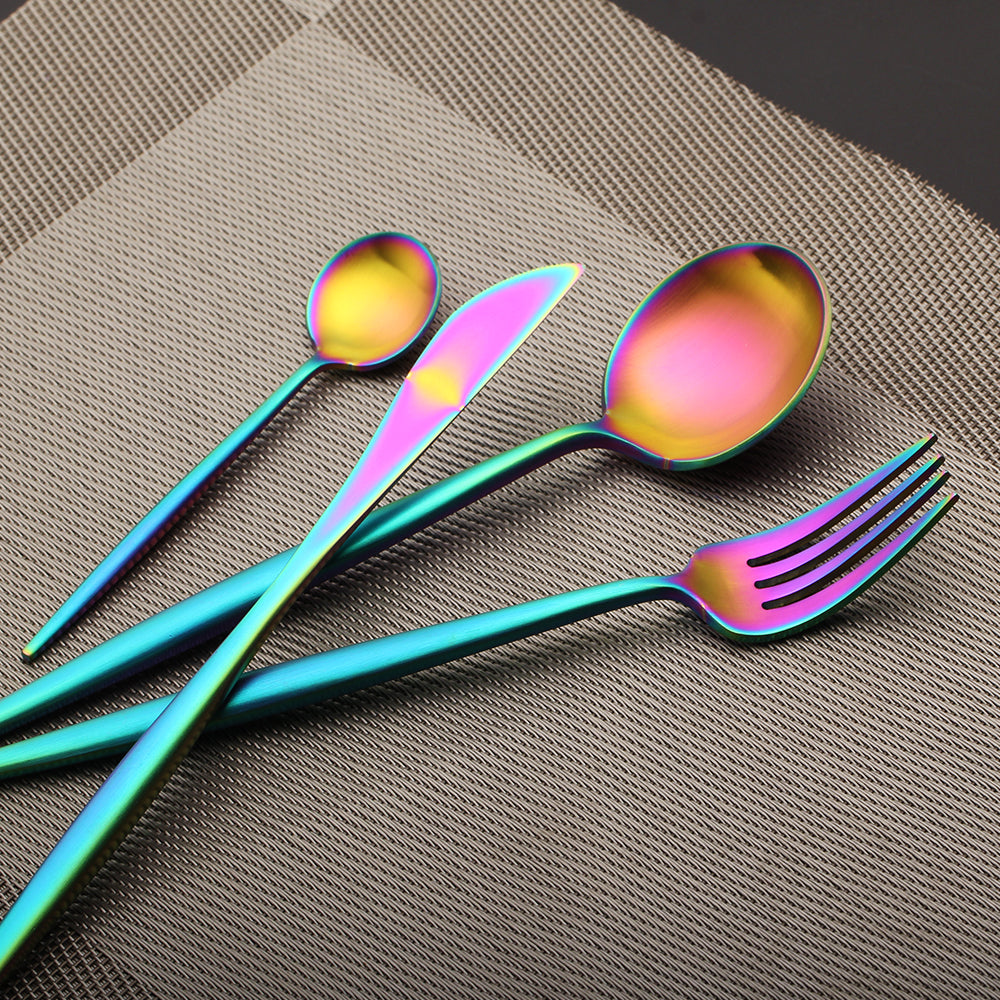 4 PCS/Set Rainbow Silverware Stainless Steel Cutlery Dinnerware Set
