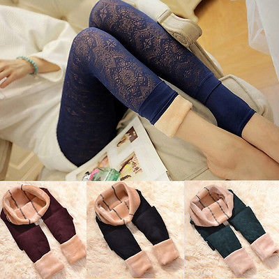 Women's Thick Thermal Fleece Lined Lace Leggings