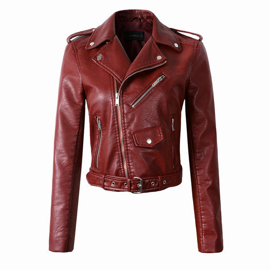 New Fashion Women Autunm Winter Wine Red Faux Leather Jackets Lady Bomber Motorcycle Cool Outerwear Coat with Belt