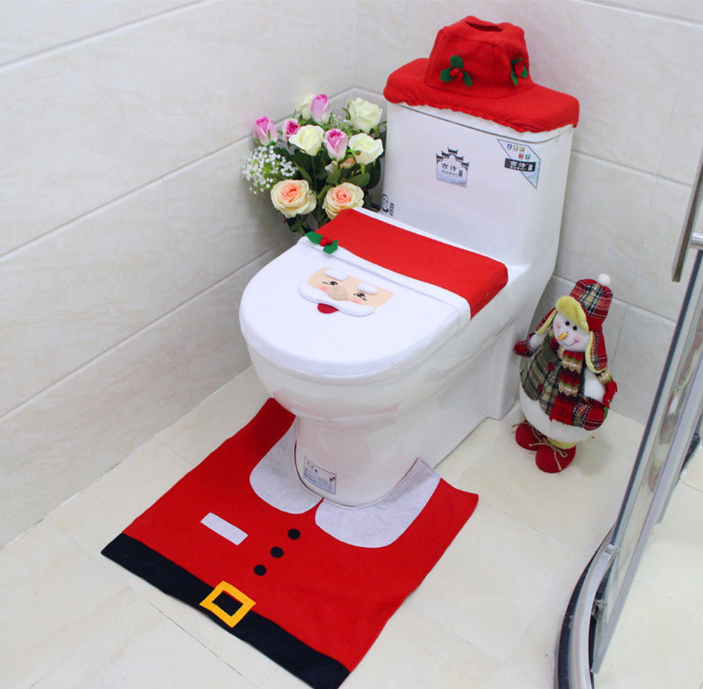 3Pcs/Set Bathroom Christmas Toilet Seat Cover