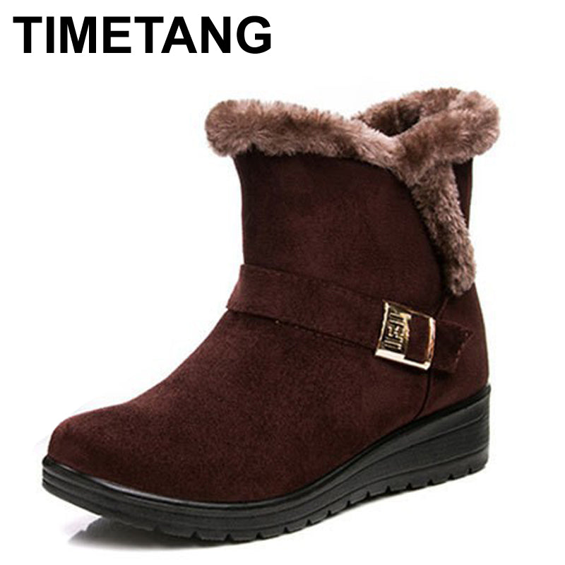 TIMETANG Women Boots Fashion Warm Snow Boots Ankle Winter Boots For Women Shoes Black Red Plus Size 41