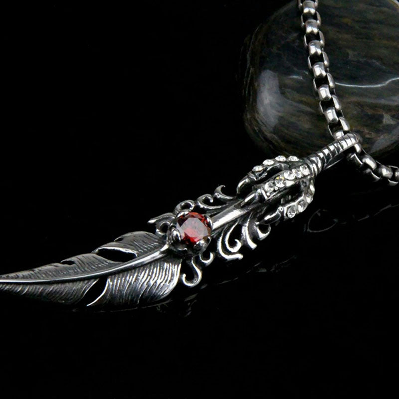 Punk Style Necklace Male leaves Necklace Pendant Stainless Steel Necklace Men Women feather Necklace Crystal Jewelry