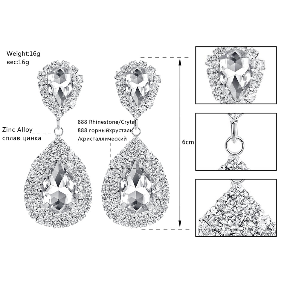 Minlover Siver Color Large Drop Earrings Bride Teardrop Shape Crystal Earrings for Women Rhinestone Dangle Wedding Earring EH003