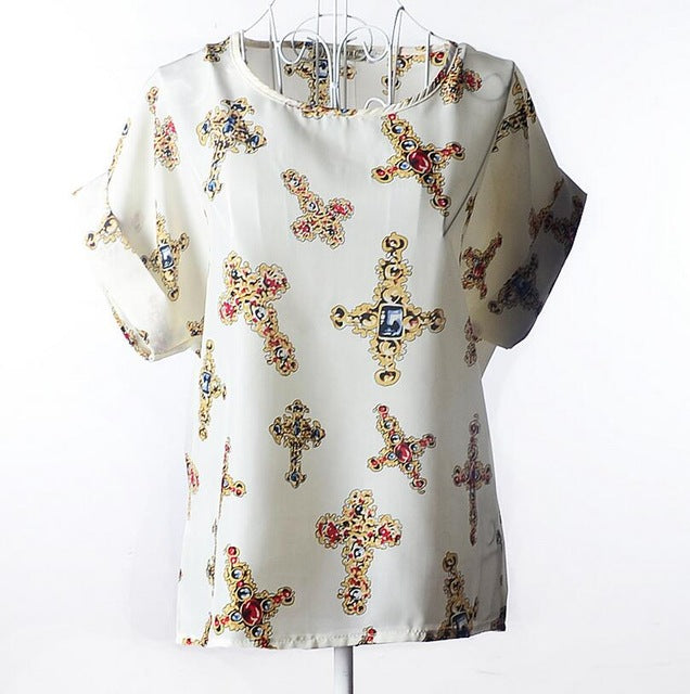 New Large Size Women Printing Blouse Bird Bat Shirt Short-sleeved Chiffon Blusas Femininas Roupas Summer Style