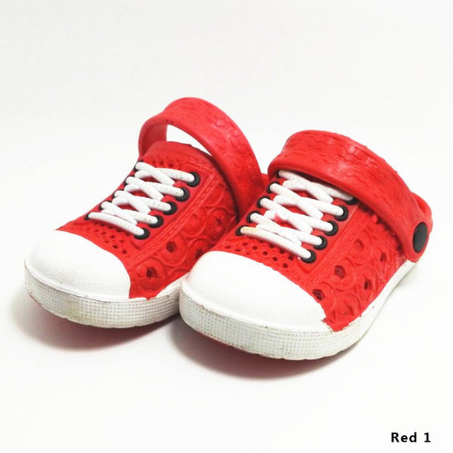 Multicolore Child Imitation Canvas Shoes Lace Hole EVA Beach Sandals Garden Slippers For Girls Boys Kids