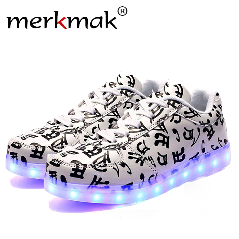 Merkark Men Superstar Musical Note Glowing Tone Led Shoes For Adult Men Luminou Light up Chaussures Hommes