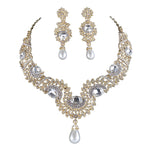 Gold Metal Plated necklace earrings Bridal Wedding jewelry sets Women Party crystal pearl fashion dress earrings set accessories